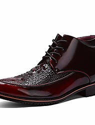 cheap -lace up ankle boots for men faux crocodile microfiber leather high-top vintage cotton ardent stately shoes (conventional optional) (color : red, size : 7 m us)