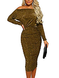 cheap -Women's Prom Dress sexy dresses for women party long sleeve off the shoulder bodycon midi dresses gold m