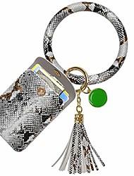 cheap -keychain bracelet, leather wristlet keychain bracelet for women (gray white)