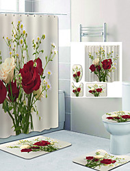 cheap -Rose Flower Digital Printing Four-Piece Set Shower Curtains Hooks Modern Polyester Machine Made Waterproof Bathroom