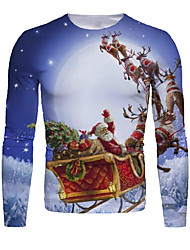 cheap -Men's 3D Graphic Animal T-shirt Print Long Sleeve Christmas Tops Round Neck Blue / White