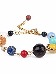 cheap -solar system bracelet with jewelry bag & meaning card | adjustable bracelet to fit any wrist | 9 planets galaxy universe guardian (lobster clasp gold)