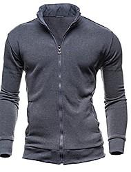 cheap -men fall winter casual sports cardigan zipper sweatshirt jacket coat dark gray