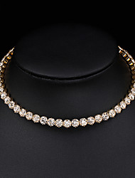 cheap -Women's Choker Necklace Necklace Tennis Chain Simple Elegant Fashion Imitation Diamond Alloy Gold 30 cm Necklace Jewelry 1pc For Wedding Anniversary Party Evening Gift Prom