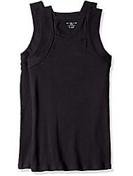cheap -men's cotton comfort square cut tank multi pack, black, medium