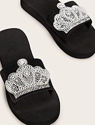 cheap -Women's Slippers & Flip-Flops Fuzzy Slippers Outdoor Slippers Platform Open Toe Casual Sweet Daily Outdoor Polyester Imitation Pearl Solid Colored Black