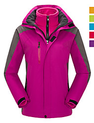 cheap -Women's Hoodie Jacket Hiking Jacket Hiking 3-in-1 Jackets Winter Outdoor Thermal Warm Waterproof Windproof Breathable Jacket 3-in-1 Jacket Winter Jacket Skiing Camping / Hiking Hunting Purple Yellow