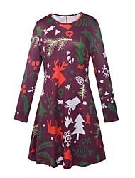 cheap -Women's A-Line Dress Short Mini Dress - Long Sleeve Print Patchwork Print Spring Fall Elegant Christmas 2020 Black Blue Purple Red Beige S M L XL