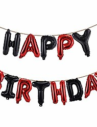 cheap -happy birthday balloons banner 16 inch hanging birthday balloons 3d silver foil letter balloons for kids and adults birthday party decorations supplies (red black)