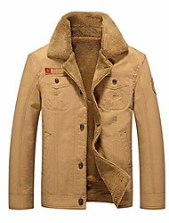 cheap -men's casual cotton military jacket with lapel add velvet and bigh size for winter (khaki, xxl)