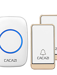 cheap -CACAZI Self-powered Wireless Doorbell Waterproof No battery 38 Chimes Cordless DoorBell 2 Button 1 Receiver