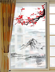 cheap -Frosted Privacy Dashan Plum Blossom Pattern Window Film Home Bedroom Bathroom Glass Window Film Stickers Self Adhesive Sticker 116*60cm