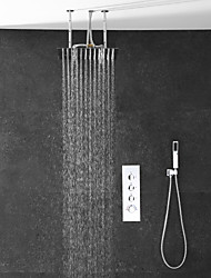 cheap -Shower Faucet / Rainfall Shower Head System Set - Handshower Included Rainfall Shower Multi Spray Shower Contemporary Electroplated Ceiling Mounted Ceramic Valve Bath Shower Mixer Taps