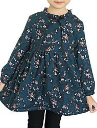 cheap -Kids Little Girls' Dress Floral Bow Print Navy Blue Above Knee Long Sleeve Flower Cute Dresses