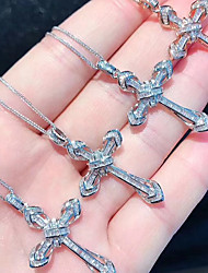 voordelige -Dames Helder Zirkonia Hangertjes ketting crossover Kruis Koreaans Modieus Messinki Zilver 50 cm Kettingen Sieraden 1pc Voor Straat Lahja Schoolfeest
