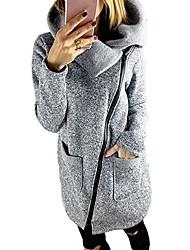 cheap -womens warm hooded coat solid high collar jacket oblique side zipper sweatshirt outwear