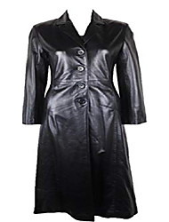 cheap -unicorn womens full length trench coat real leather jacket black #ba (16)