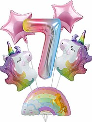 cheap -unicorn balloons unicorn birthday decorations for girls 7 number ballloon rainbow balloon unicorn 7th birthday party supplies