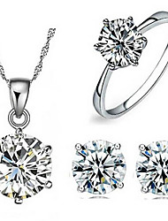 cheap -Women's Jewelry Set Bridal Jewelry Sets Classic Precious Fashion Silver Plated Earrings Jewelry Silver For Christmas Wedding Halloween Party Evening Gift 1 set