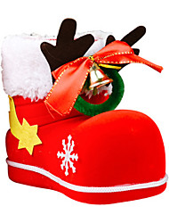 cheap -2020 Christmas Decorations New Antler Bell Flocking Boots Children's Gifts Candy Boots Christmas Candy Boxes