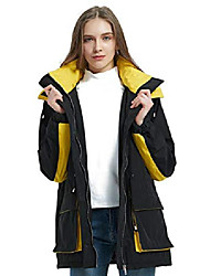 cheap -women protective outdoor waterproof mountain windbreaker ski jacket,the warm padding trench coat with hood black x-large