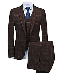 cheap -but& #39;s 3 pieces plaid suit formal slim fit suits one button notch lapel tuxedos blazer groomsmen & #40;blazer vest pants& #41;& #40;34s,coffee& #41;