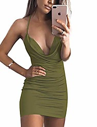 cheap -women's casual sleeveless ruched cocktail party dresses bodycon mini sexy club dress cami dress (army green,s)
