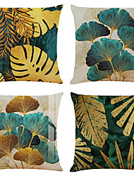 cheap -Set of 4 Throw Pillow Cases Open Branches and Loose Leaves Linen Square Decorative Throw Pillow Cases Sofa Cushion Covers