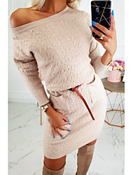 cheap -Women's Sheath Dress Knee Length Dress - Long Sleeve Solid Color Fall Casual 2020 Blue Red Beige S M L XL XXL