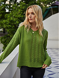 cheap -Women's Knitted Solid Color Plain Pullover Cotton Long Sleeve Sweater Cardigans V Neck Fall Winter Green