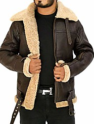 cheap -men's winter raf b3 real sheepskin shearling flight pilot aviator leather jacket (xxl)