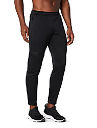 cheap -amazon brand - men's trackster athletic-fit pant, black/black, small