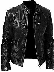 cheap -men's stand collar leather jacket motorcycle lightweight faux leather outwear black