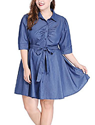 cheap -women's plus size 1/2 sleeves belted above knee denim shirt dress blue 1x