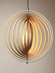 cheap -40/50/60 cm Nordic Pendant Light Simple Circle Style Wood Made Ring Free Rotation Adjustment Solid Wood Restaurant Bar Living Room Bedroom