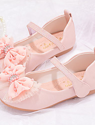 cheap -Girls' Flats Comfort Flower Girl Shoes Princess Shoes Faux Fur PU Little Kids(4-7ys) Daily Party & Evening Walking Shoes Bowknot Pearl White Pink Fall Spring