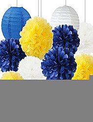 cheap -white blue yellow 2020 graduation party decorations paper lanterns mixed package for navy blue party wedding paper garland, bridal shower, baby shower decoration (navy white yellow)