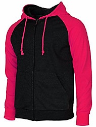 cheap -men's raglan long sleeve fleece casuall full-zip up hoodie jacket pink-xl (asia-xxxl)
