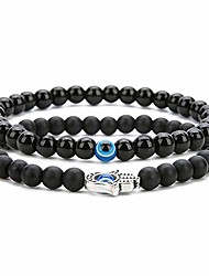 cheap -2pcs set handmade elastic 6mm black agate beads bracelet natural stone evil eye hamsa fatima hand charm beaded couples bracelets kabbalah bracelet