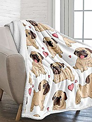 """cheap -pug throw blanket twin reversible pug dog printed sherpa blanket for kids adults soft fuzzy microfiber plush fleece throw blanket for bed couch and travel & #40;twin size, 60""""x80""""& #41;"""