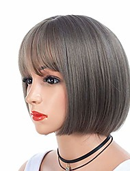 cheap -lotus.flower natural short bob grey wig synthetic heat resistant fiber full end wig natural hairpiece for women hair (grey)