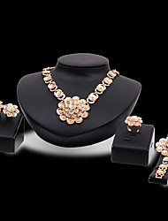 cheap -Women's Jewelry Set Bridal Jewelry Sets 3D Flower Fashion Gold Plated Earrings Jewelry Gold For Christmas Wedding Halloween Party Evening Gift 1 set