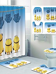 cheap -Little Yellow People Family Of Three Pattern PrintingBathroom Shower Curtain Leisure Toilet Four-Piece Design