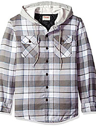 cheap -authentics men's long sleeve quilted lined flannel shirt jacket with hood, cloud burst with gray, 3xl