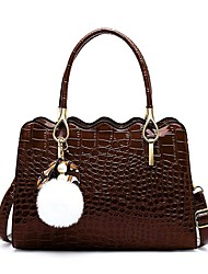 cheap -Women's Bags PU Leather Leather Top Handle Bag Tassel Zipper Handbags Daily Outdoor Black Red Brown