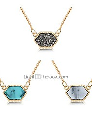 cheap -girls women faux druzy jewelry set drusy necklace 14k gold plated hexagon pendant christmas gift for best friend (b4-gold+gray/blue/white)
