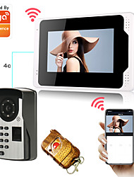cheap -WIFI / Wired Tuya 1080P Camera 7inch Monitor Video Doorbell Smart Home Door Bell Camera 2MP with Fingerprint Password Unlock PIR Motion Detection Doorbell Camera