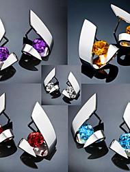 cheap -Women's AAA Cubic Zirconia Stud Earrings Geometrical Fashion Cool Boho Earrings Jewelry Blue / Purple / Gold For 1 Pair