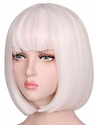 cheap -short straight natural bob hair wig for women (white)