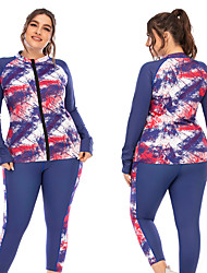 cheap -Women's Yoga Top Medium Support Winter Pocket Patchwork Floral Print Blue Yoga Fitness Running Jacket Long Sleeve Sport Activewear Breathable Quick Dry Comfortable Freedom Micro-elastic